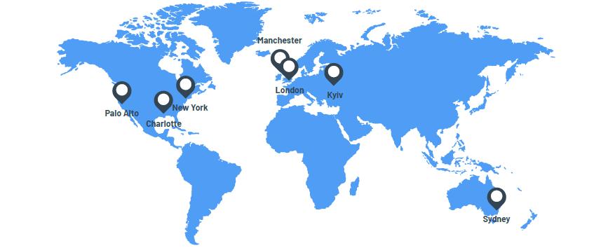 Palo Alto, Charlotte, New York, Manchester, London, Kyiv, Sydney